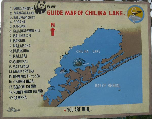 Chilka lake Guide Map